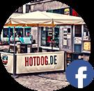 Hotdog-Laden mit Facebook-Logo